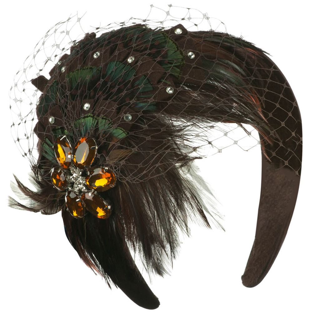 Peacock Fascinator with Stone Brooch - Brown - Hats and Caps Online Shop - Hip Head Gear