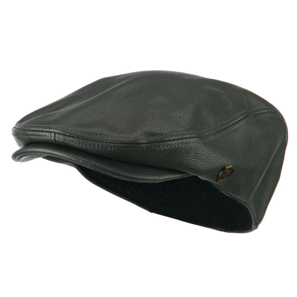 Pamoa Faux Leather Classic Ivy Hat - Dark Grey - Hats and Caps Online Shop - Hip Head Gear