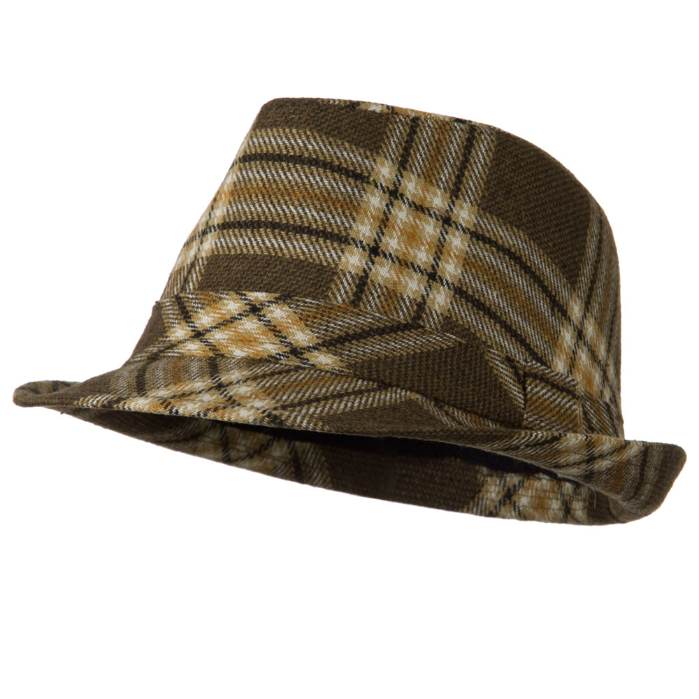 Boys Wool Blend Plaid Fedora - Beige Brown - Hats and Caps Online Shop - Hip Head Gear