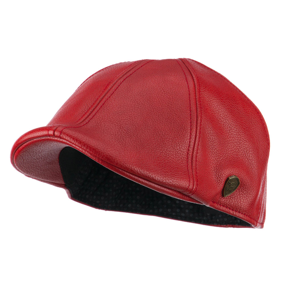 Pamoa Faux Leather Duckbill Ivy Hat - Red - Hats and Caps Online Shop - Hip Head Gear