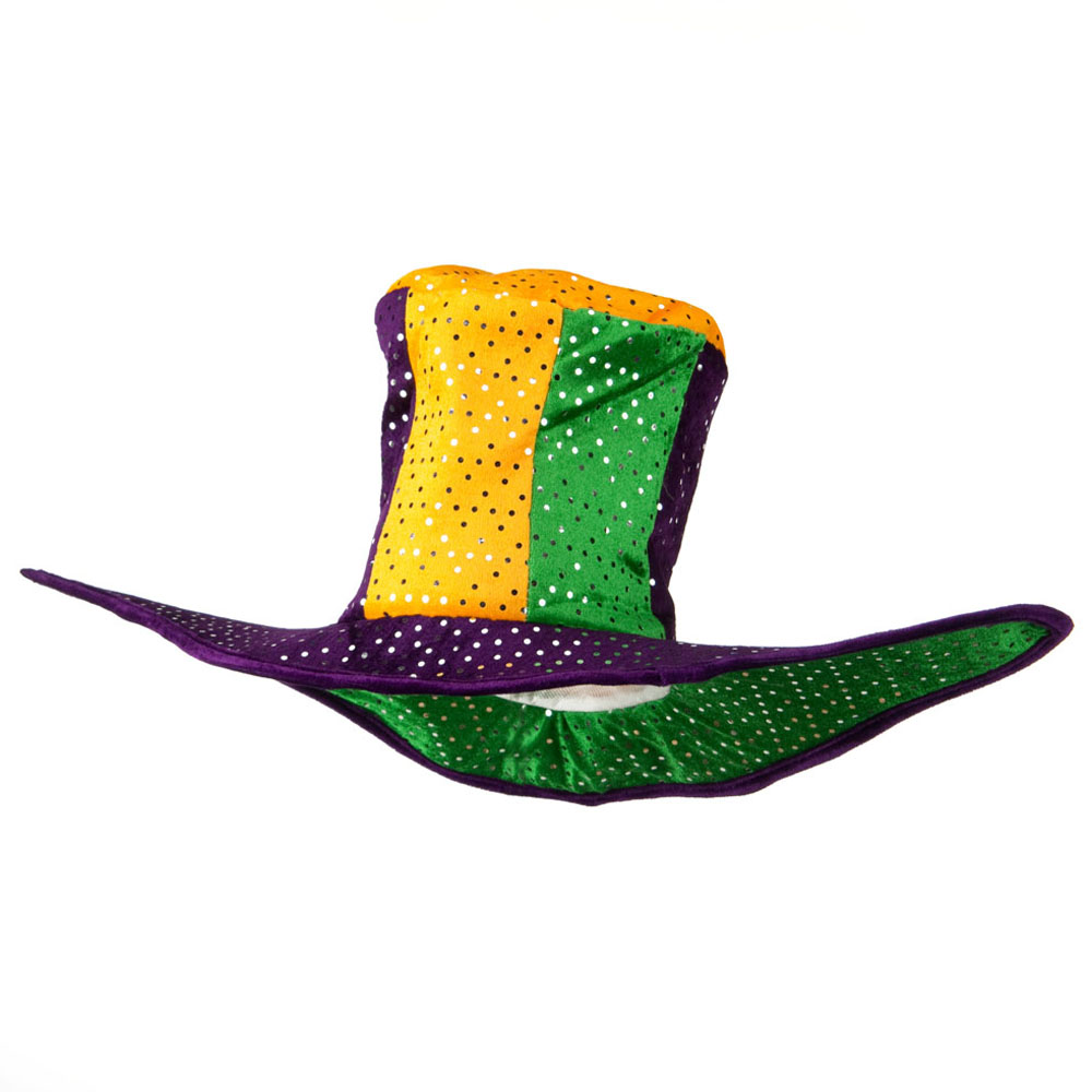 Mardi Gras Poly Tallhat 2 points on Hat - Green Yellow Purple - Hats and Caps Online Shop - Hip Head Gear