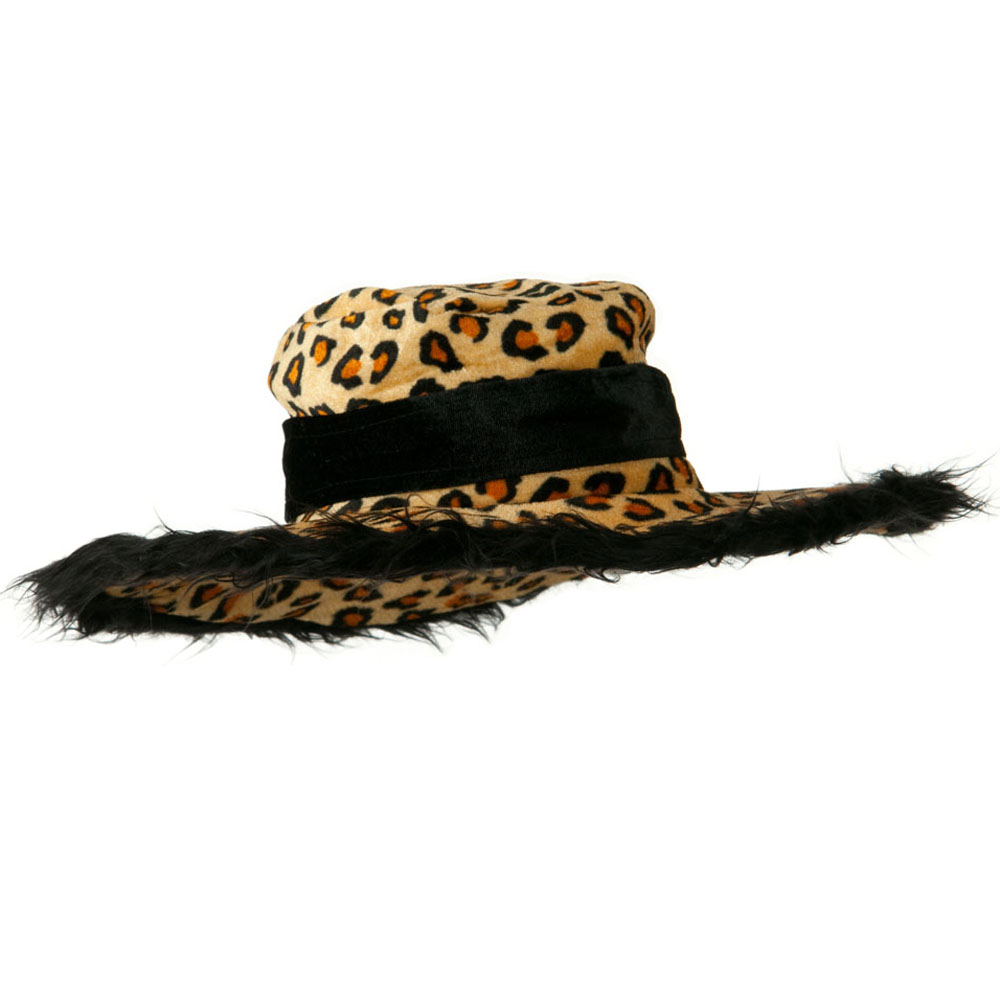 Leopard Pimp Hat with Fur Trim - Brown Black - Hats and Caps Online Shop - Hip Head Gear