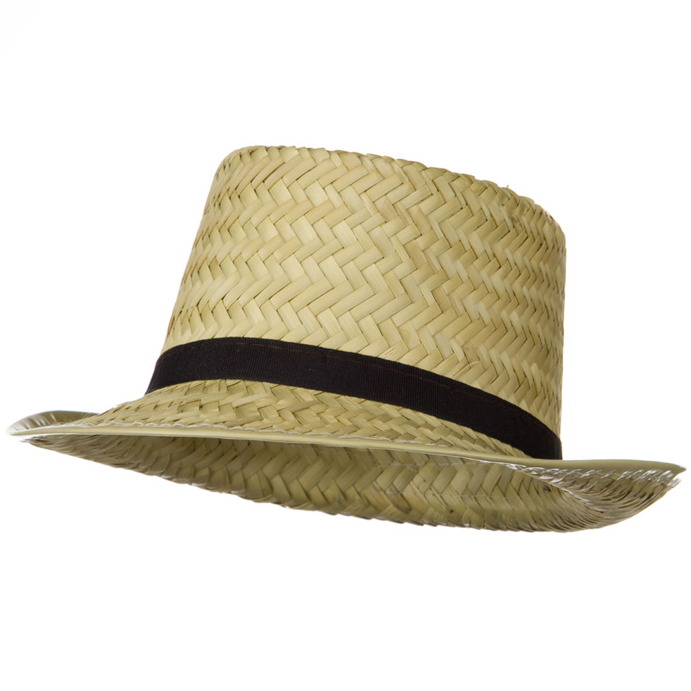 Straw Pork Pie Hat - Natural Black - Hats and Caps Online Shop - Hip Head Gear