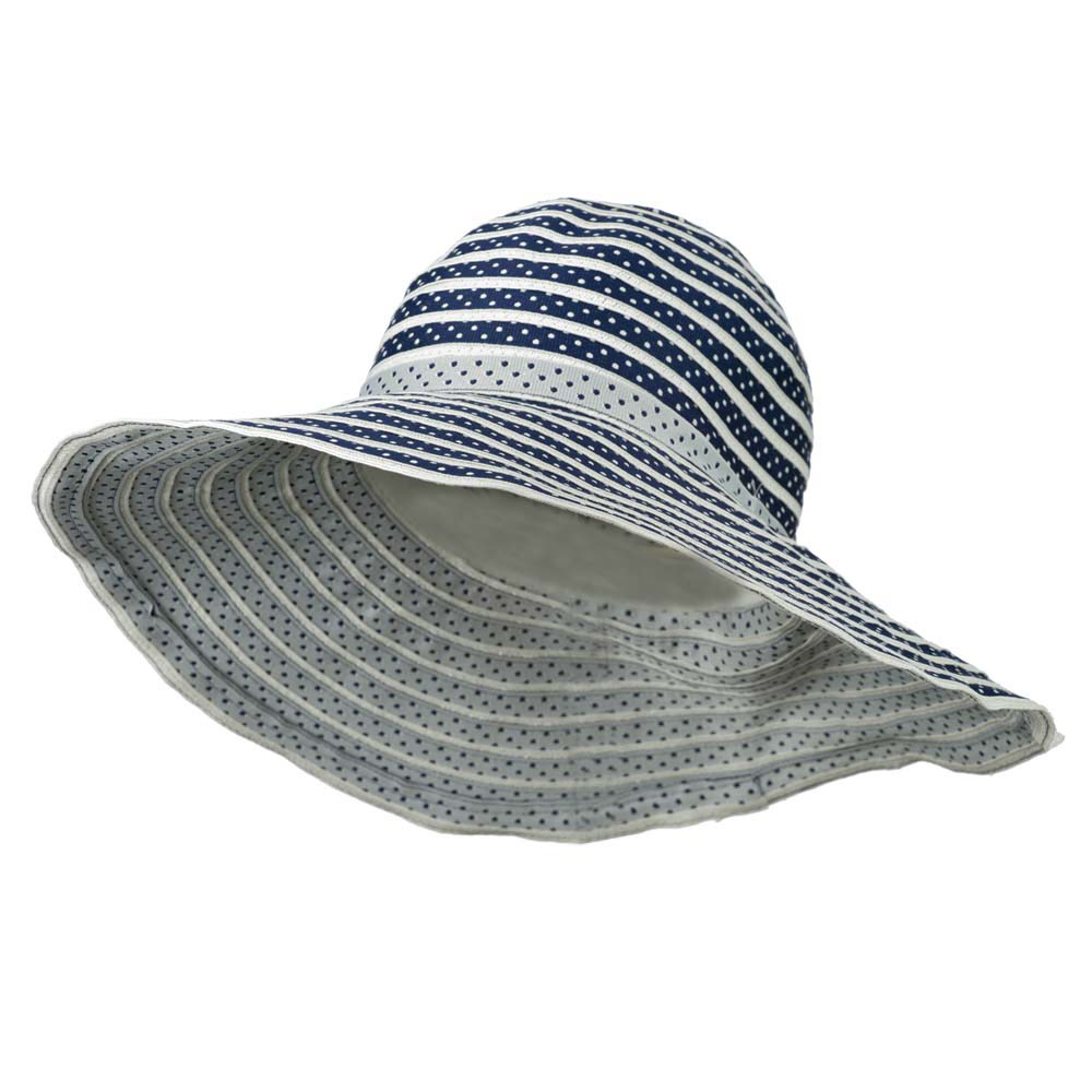 Polka Dot Hat with Flower Accent For Women's - Blue White