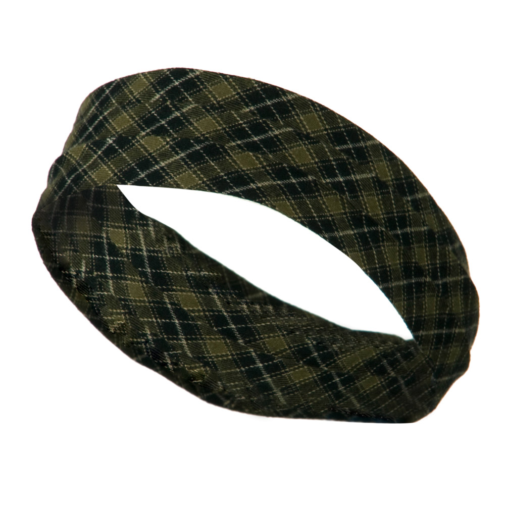 3 Pleated Hat Band - Green Plaid (M) - Hats and Caps Online Shop - Hip Head Gear