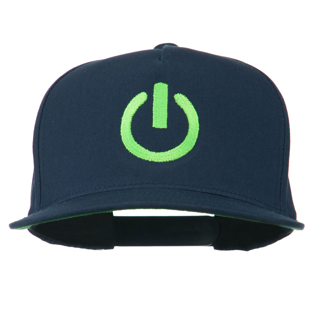Power Icon Embroidered Snapback Cap - Navy