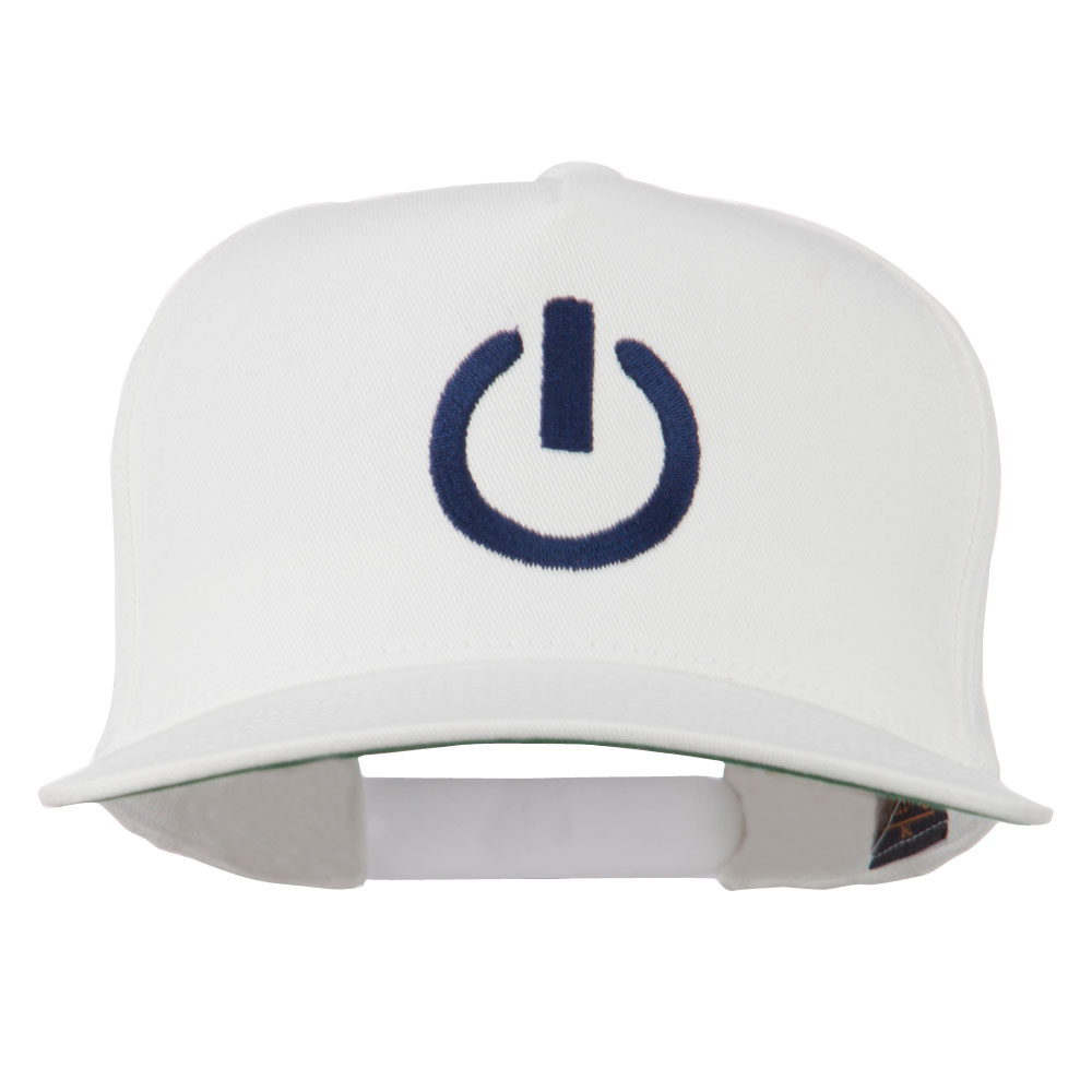Power Icon Embroidered Snapback Cap - White
