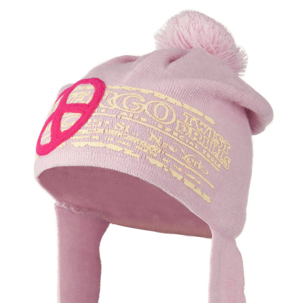Peace Knit Hat with Long Band - Pink - Hats and Caps Online Shop - Hip Head Gear
