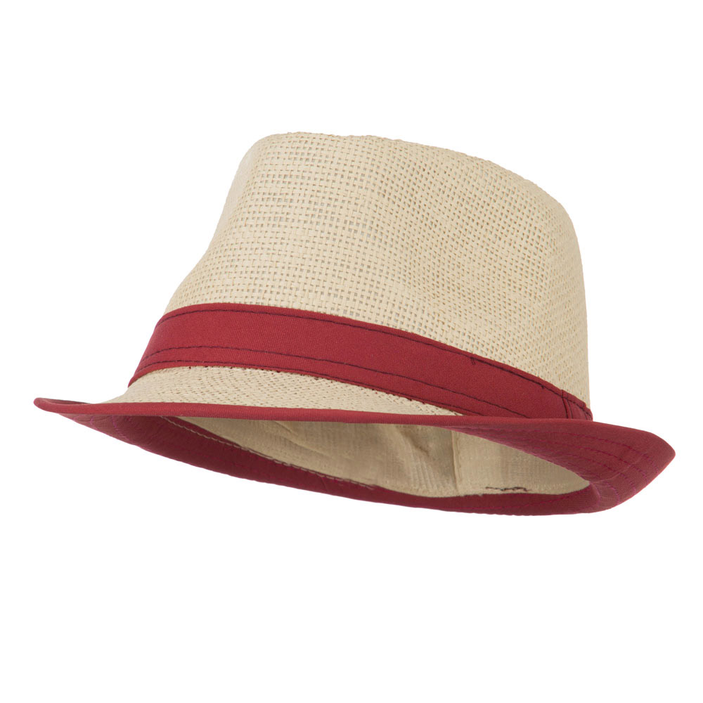 Paper Straw Fedora with Solid Band - Brick - Hats and Caps Online Shop - Hip Head Gear