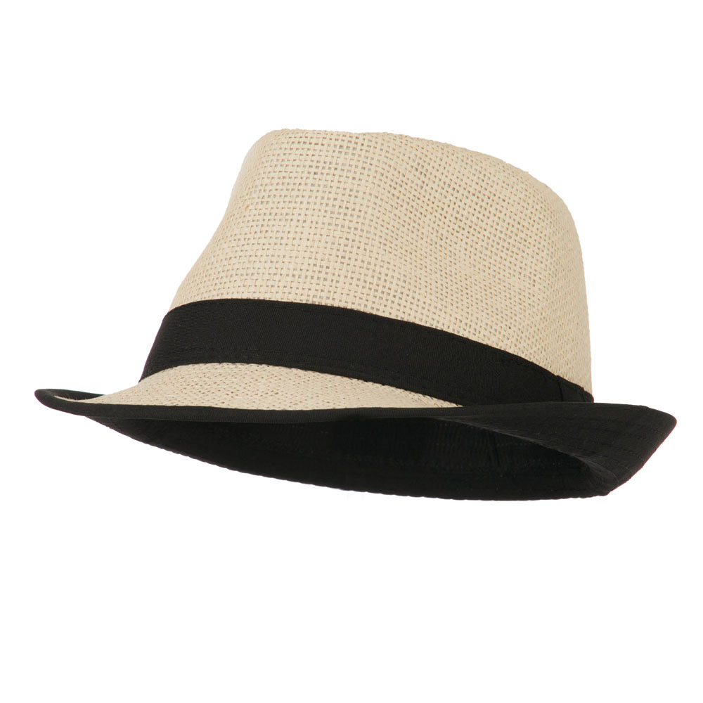 Paper Straw Fedora with Solid Band - Black - Hats and Caps Online Shop - Hip Head Gear