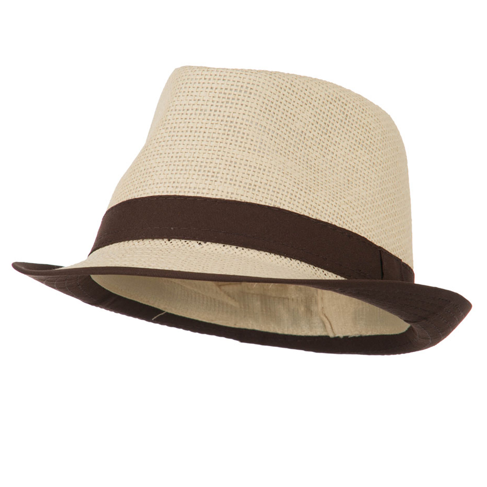 Paper Straw Fedora with Solid Band - Brown - Hats and Caps Online Shop - Hip Head Gear