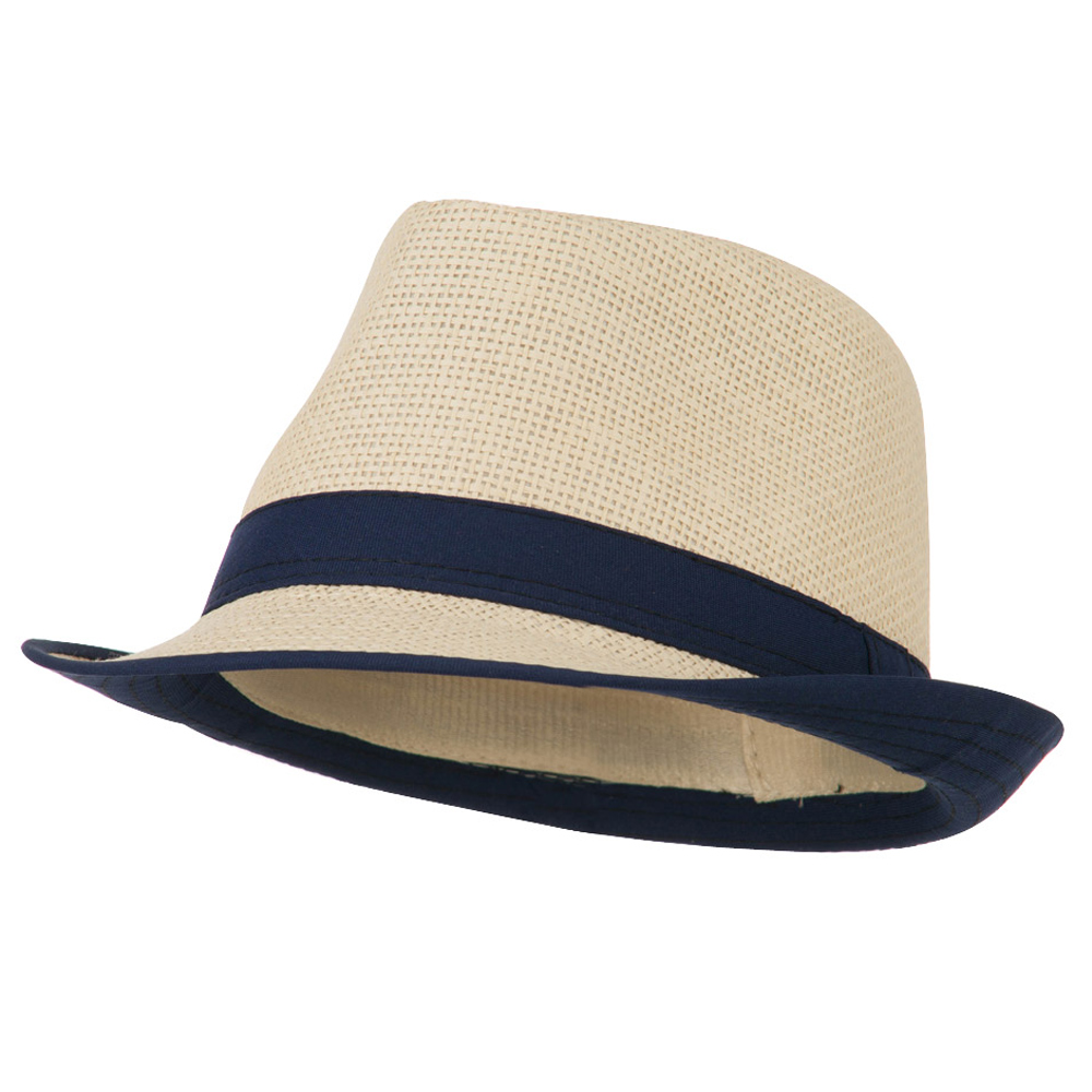 Paper Straw Fedora with Solid Band - Navy - Hats and Caps Online Shop - Hip Head Gear