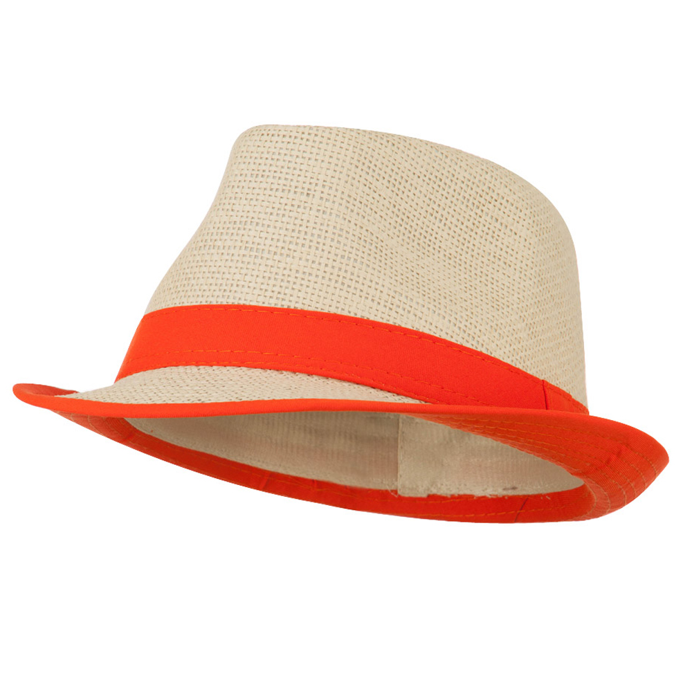 Paper Straw Fedora with Solid Band - Orange - Hats and Caps Online Shop - Hip Head Gear