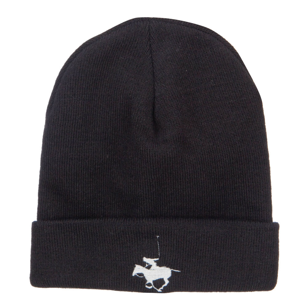 Polo Player Sports Embroidered Big Beanie - Black