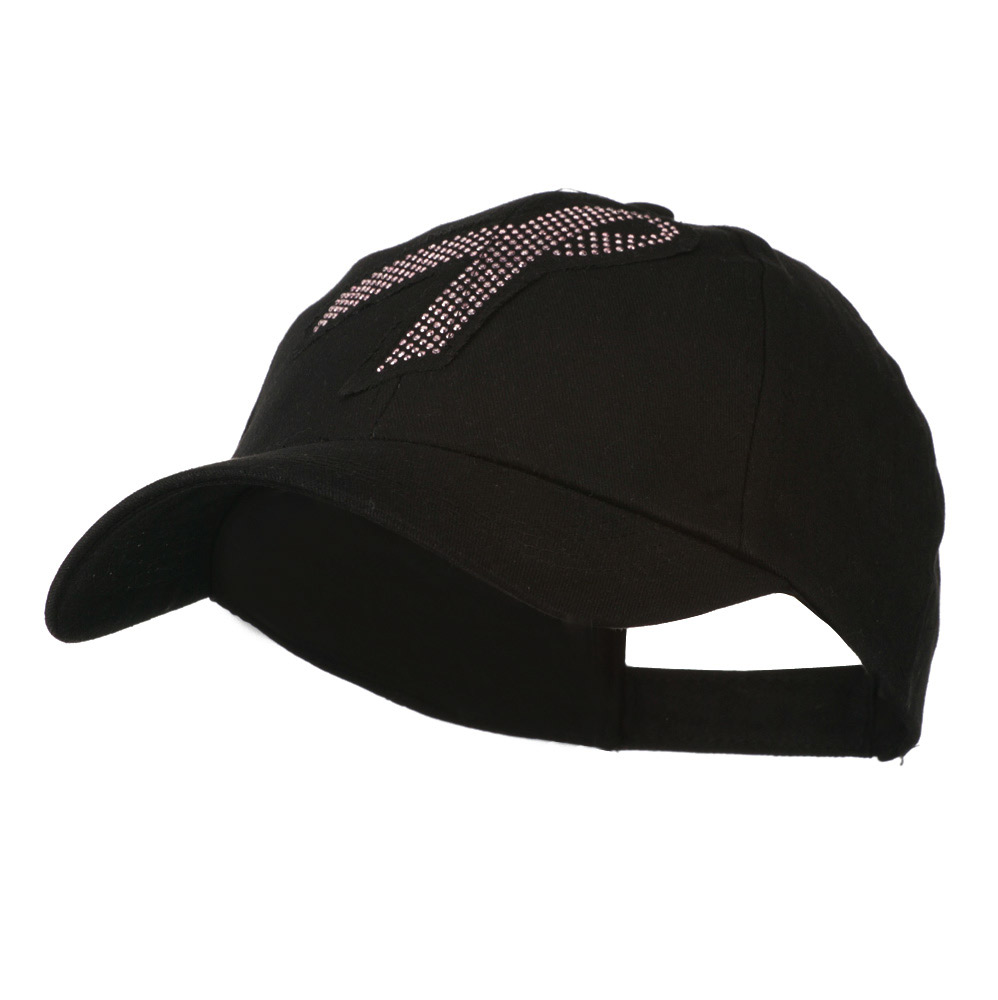 Breast Cancer Cap with Pink Metal Studs - Black - Hats and Caps Online Shop - Hip Head Gear