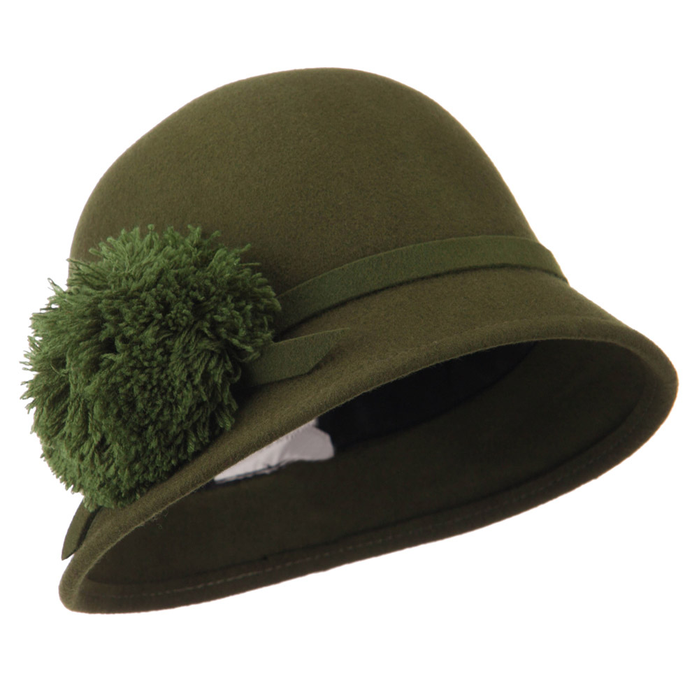 Women's Slanted Brim Pom Pom Felt Cloche - Olive - Hats and Caps Online Shop - Hip Head Gear