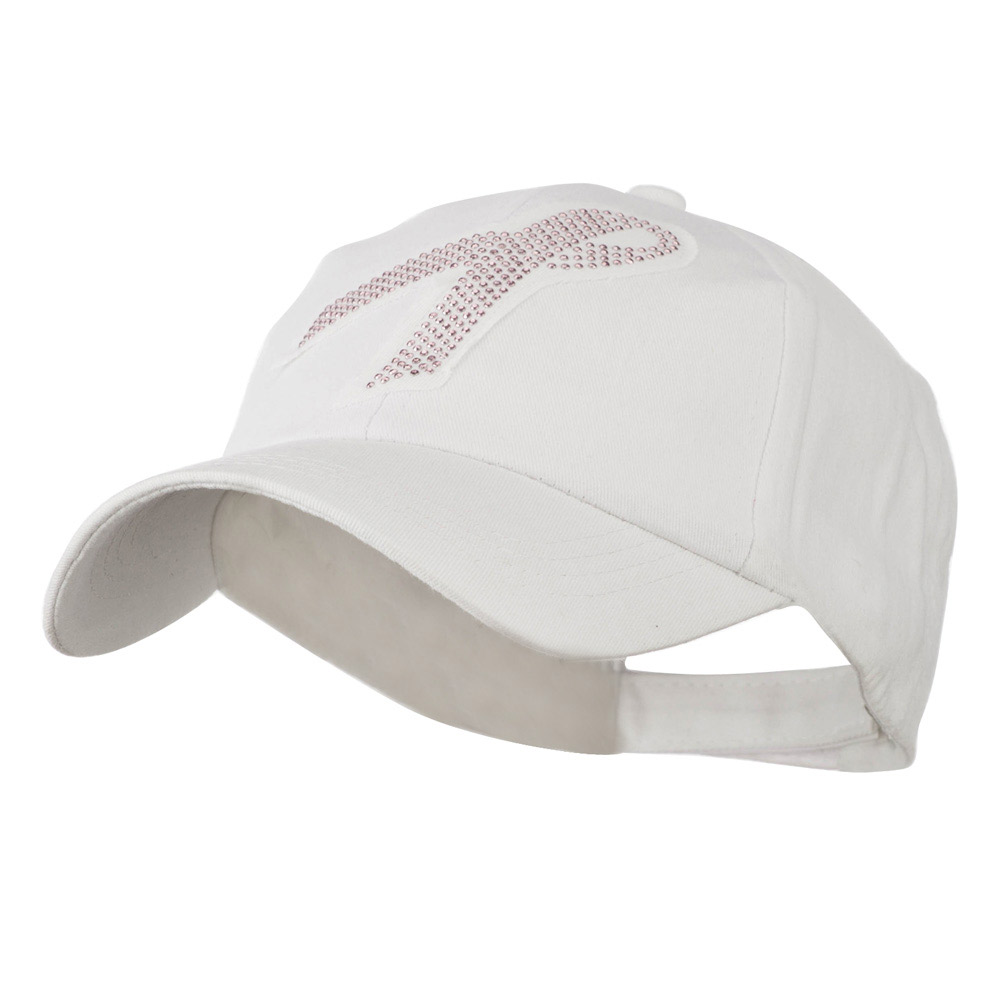 Breast Cancer Cap with Pink Metal Studs - White - Hats and Caps Online Shop - Hip Head Gear