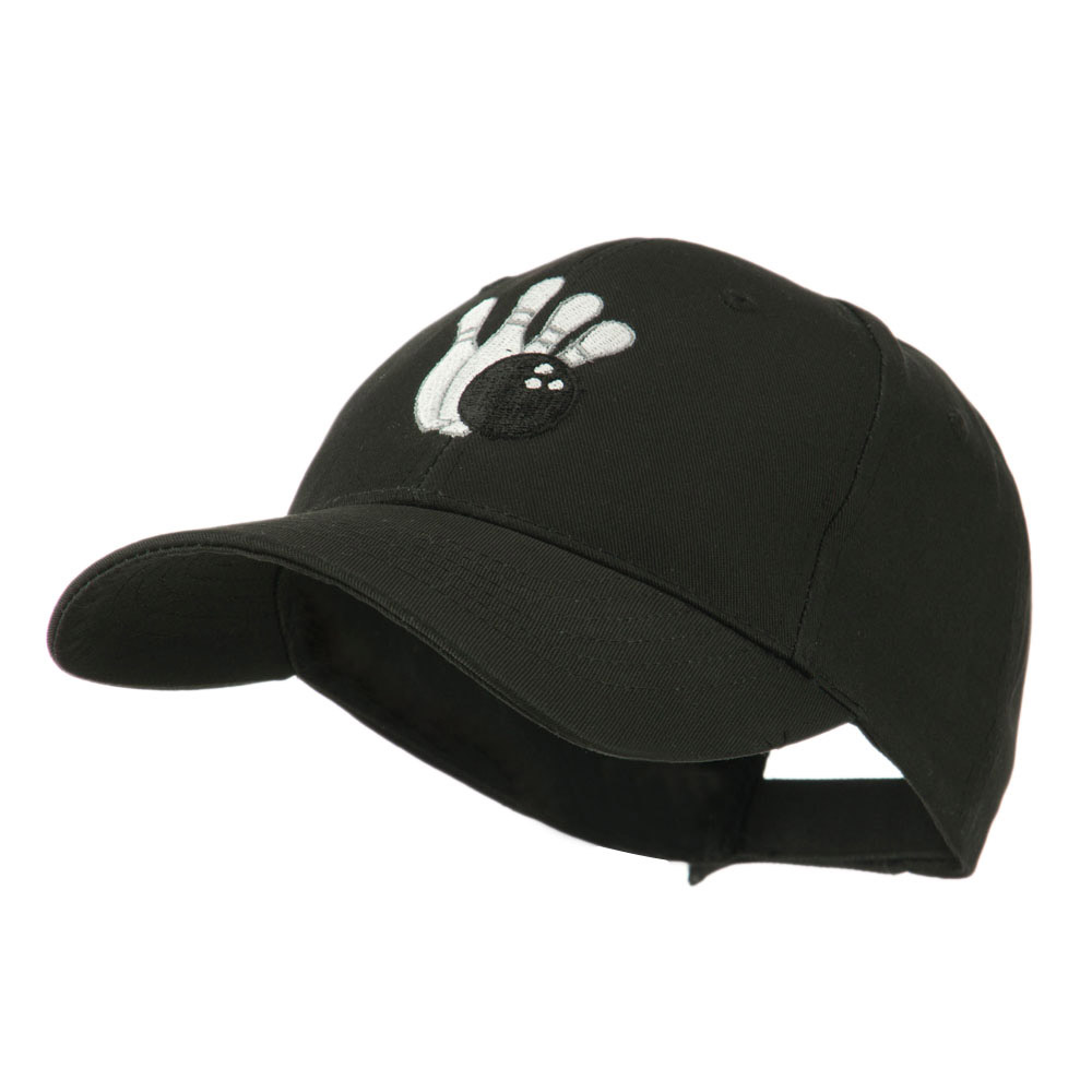 Bowling Ball with 4 Pins Embroidered Cap - Black - Hats and Caps Online Shop - Hip Head Gear