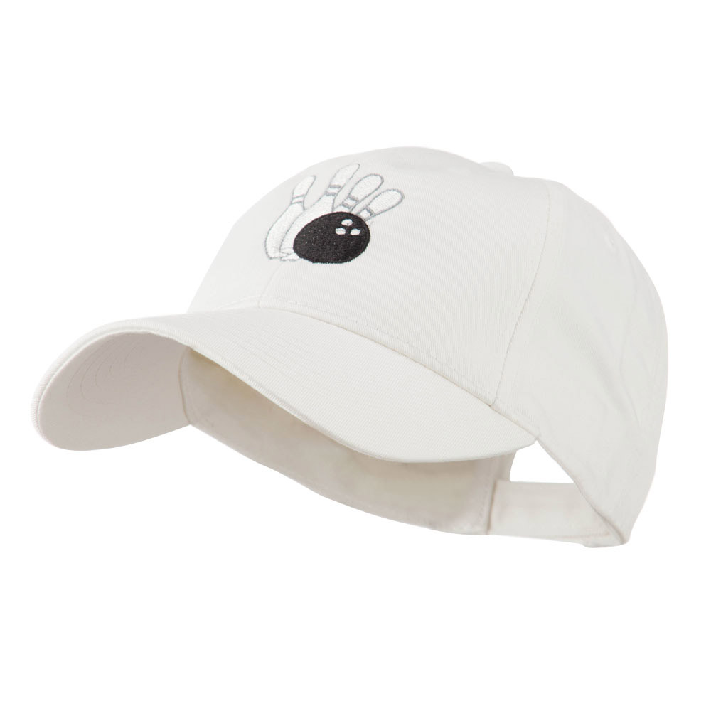 Bowling Ball with 4 Pins Embroidered Cap - White - Hats and Caps Online Shop - Hip Head Gear