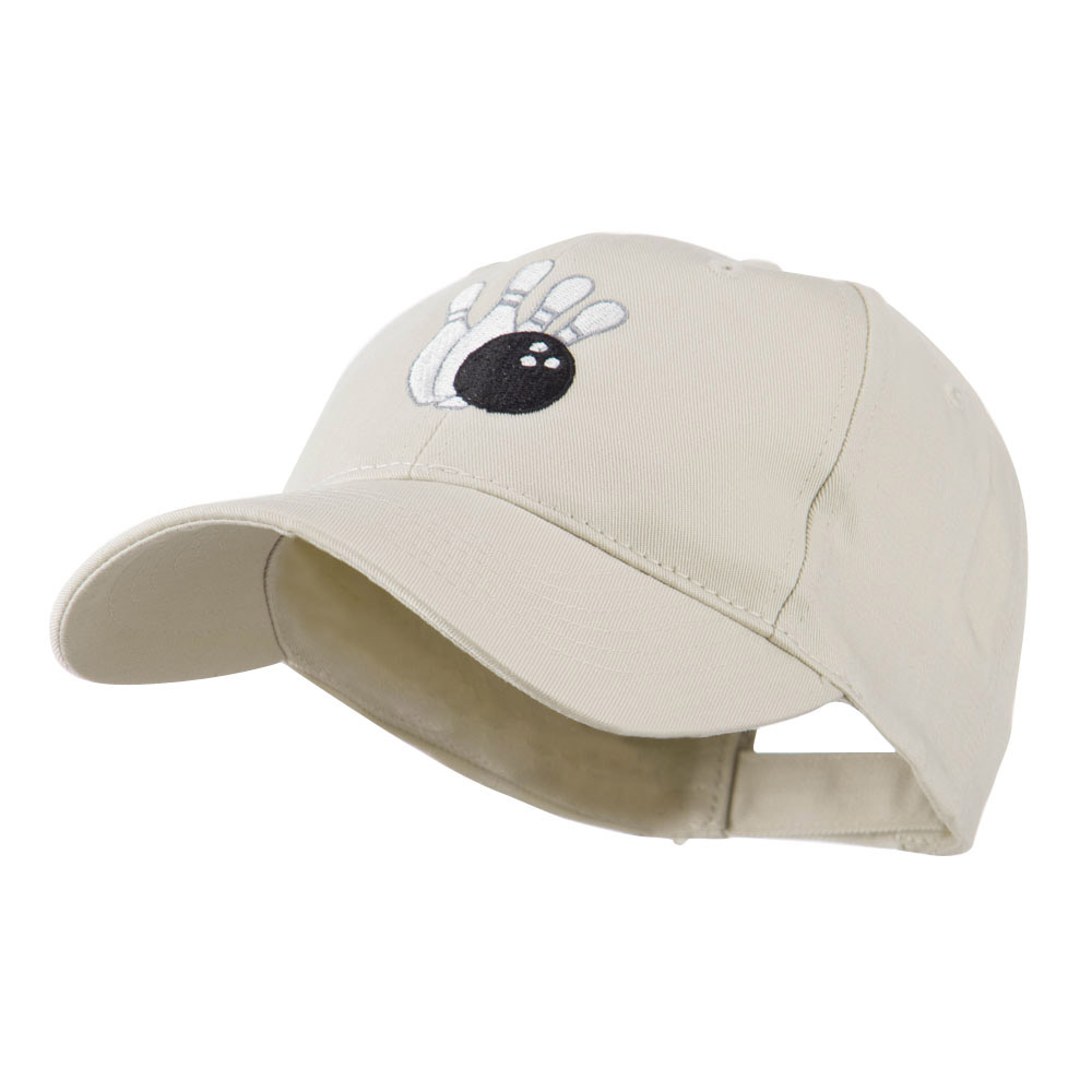 Bowling Ball with 4 Pins Embroidered Cap - Stone - Hats and Caps Online Shop - Hip Head Gear