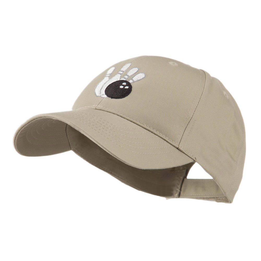 Bowling Ball with 4 Pins Embroidered Cap - Khaki - Hats and Caps Online Shop - Hip Head Gear