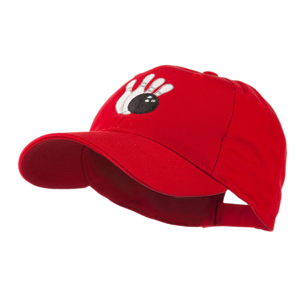 Bowling Ball with 4 Pins Embroidered Cap - Red - Hats and Caps Online Shop - Hip Head Gear
