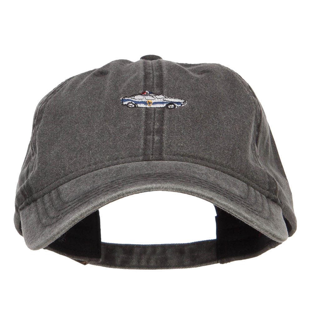 Mini Police Car Embroidered Washed Cap - Black