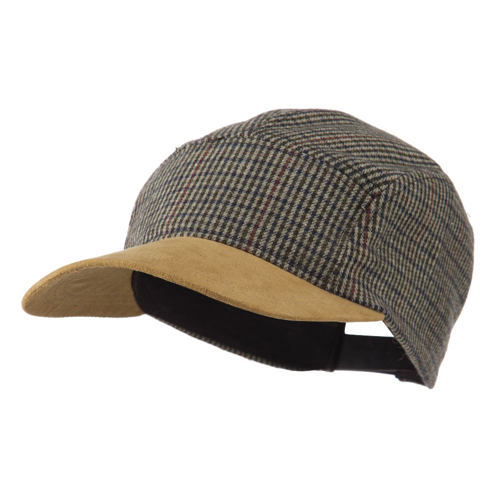 5 Panel Plaid Cap with Suede Bill - Olive - Hats and Caps Online Shop - Hip Head Gear