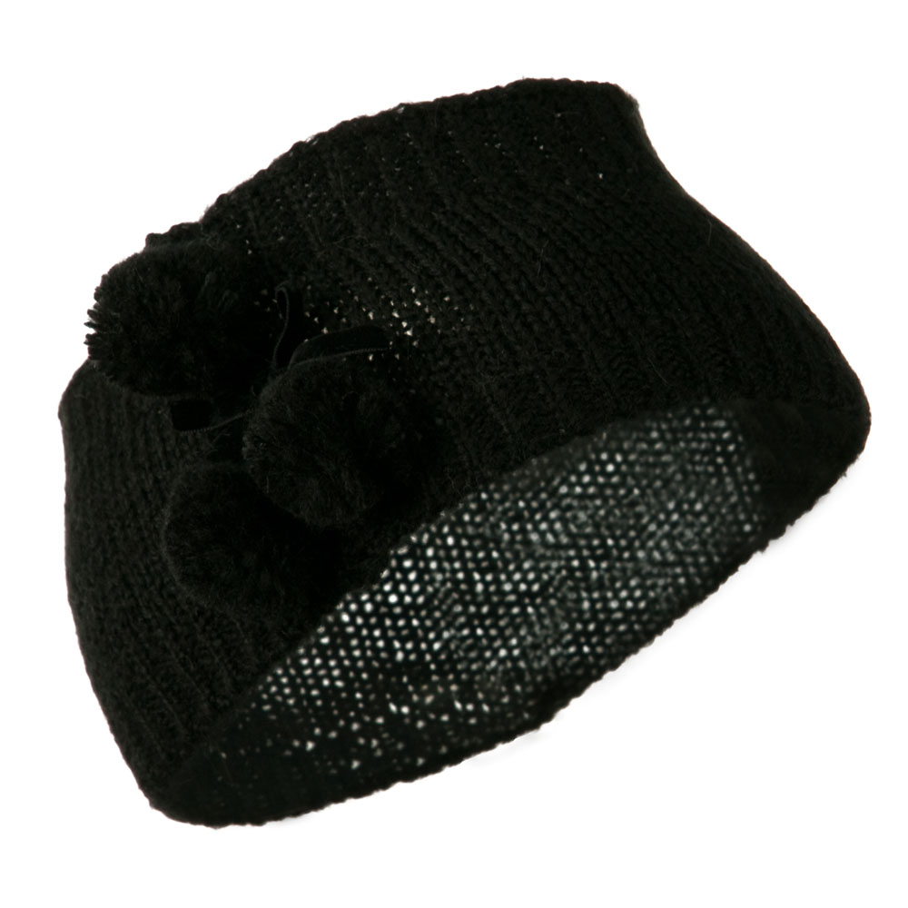 Knit Heandband with 3 Pom Pom - Black - Hats and Caps Online Shop - Hip Head Gear