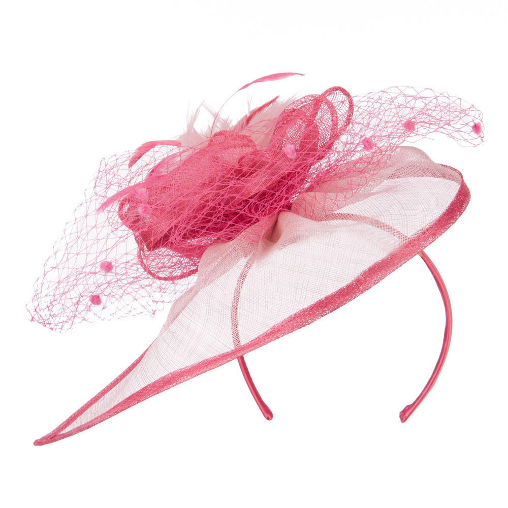 Pom Pom and Netting Detail Headband Fascinator - Berry - Hats and Caps Online Shop - Hip Head Gear