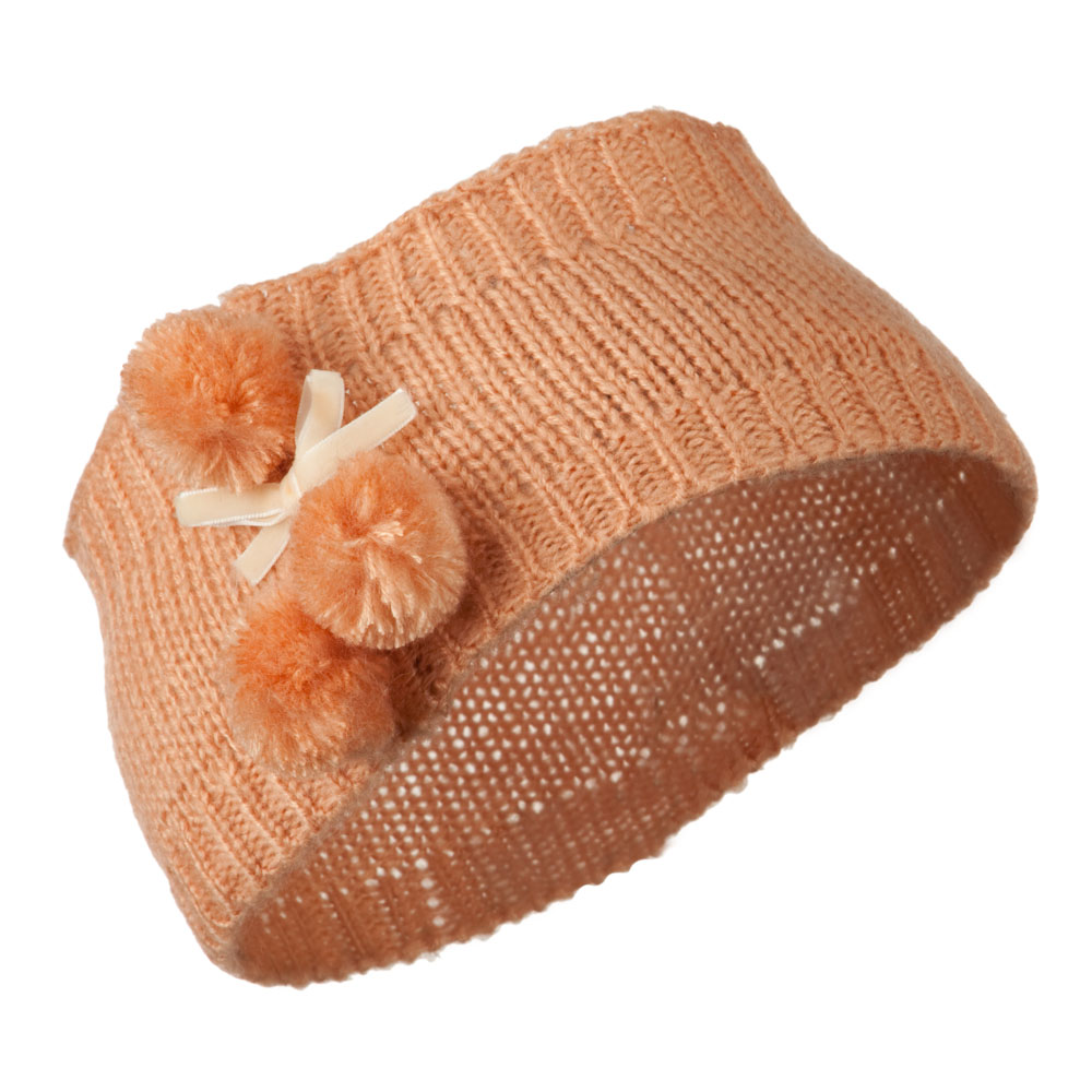 Knit Heandband with 3 Pom Pom - Peach - Hats and Caps Online Shop - Hip Head Gear