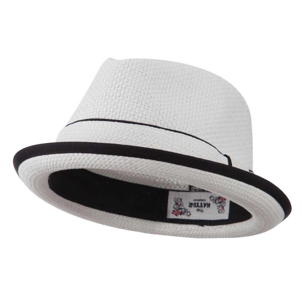 Plain Paper Straw Band Upbrim Fedora - White - Hats and Caps Online Shop - Hip Head Gear