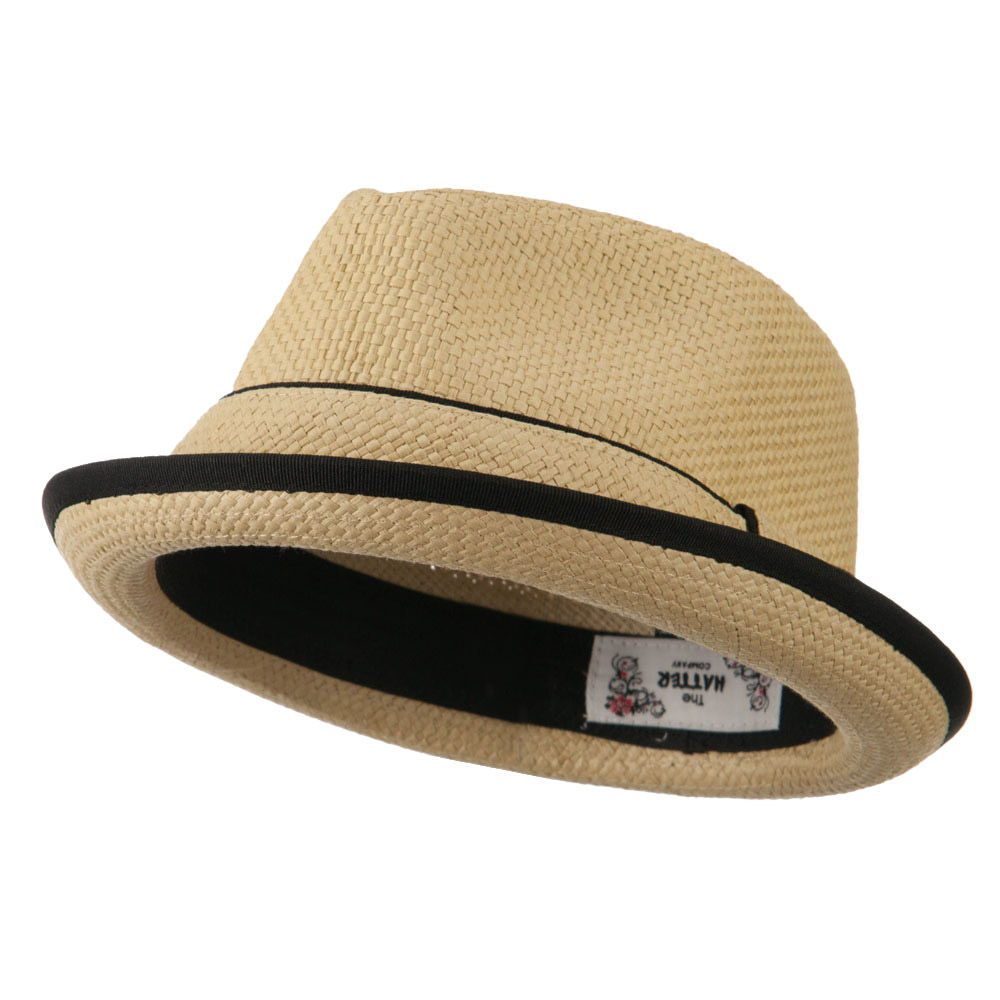 Plain Paper Straw Band Upbrim Fedora - Tan - Hats and Caps Online Shop - Hip Head Gear