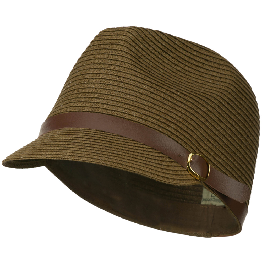 PP Braid Cap with PU Buckle Band - Olive - Hats and Caps Online Shop - Hip Head Gear