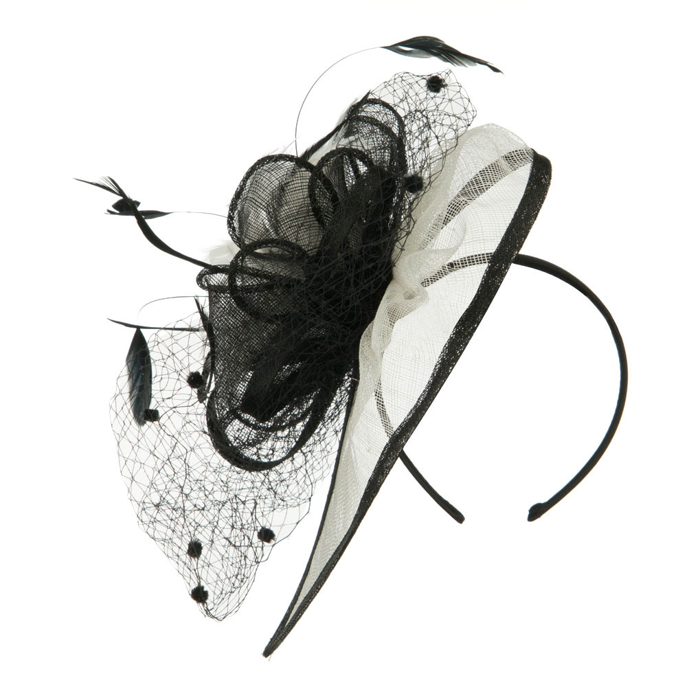 Pom Pom and Netting Detail Headband Fascinator - White Black - Hats and Caps Online Shop - Hip Head Gear