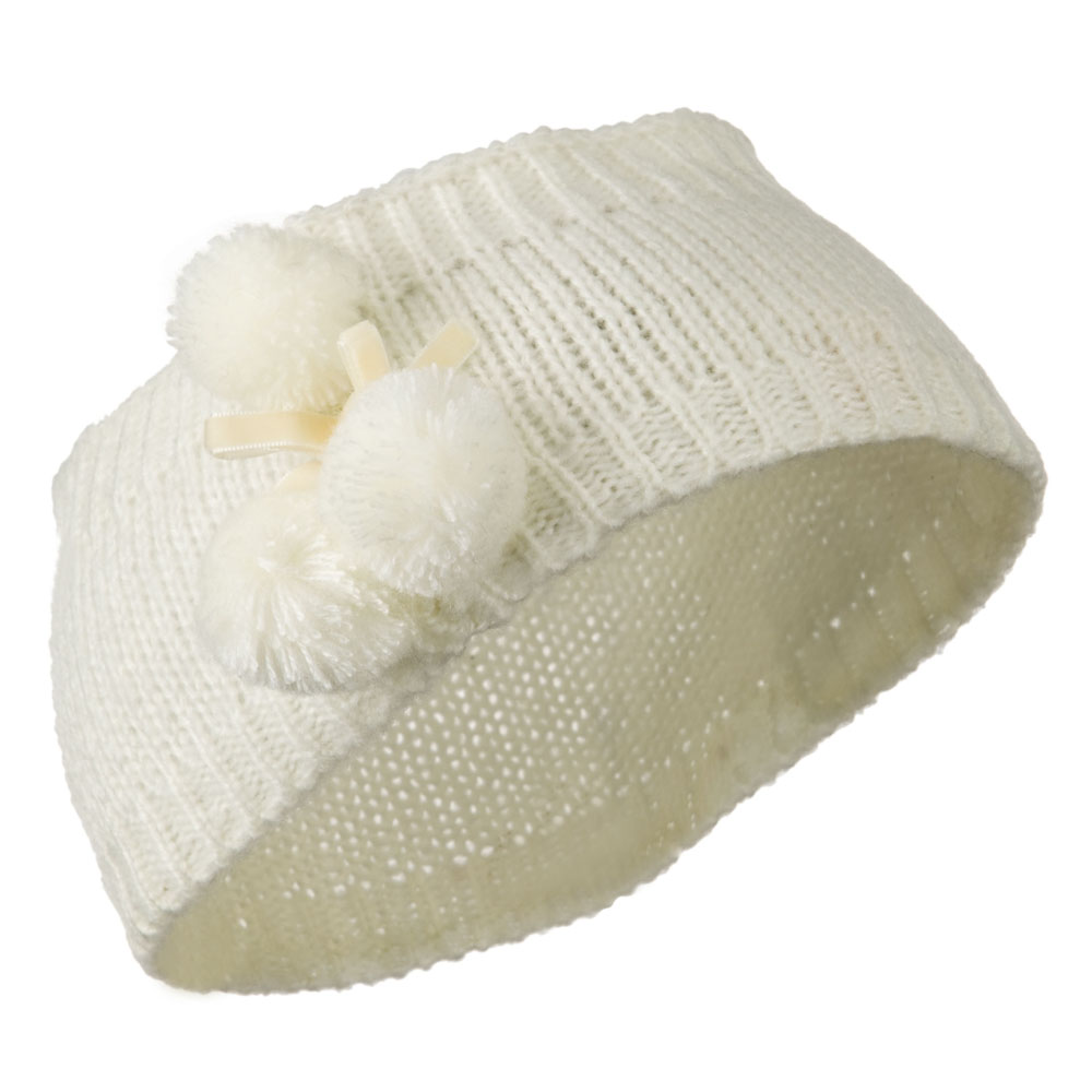 Knit Heandband with 3 Pom Pom - Cream - Hats and Caps Online Shop - Hip Head Gear