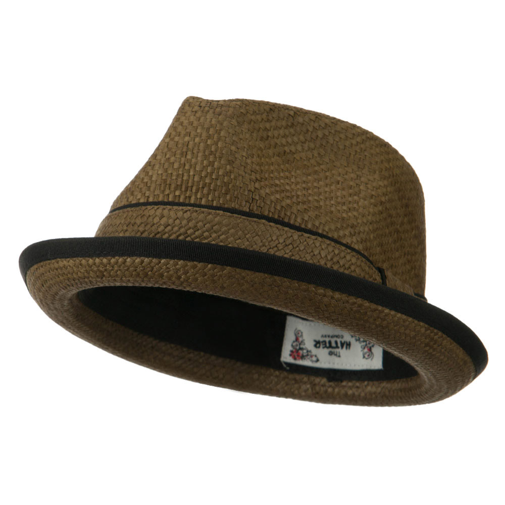 Plain Paper Straw Band Upbrim Fedora - Brown - Hats and Caps Online Shop - Hip Head Gear