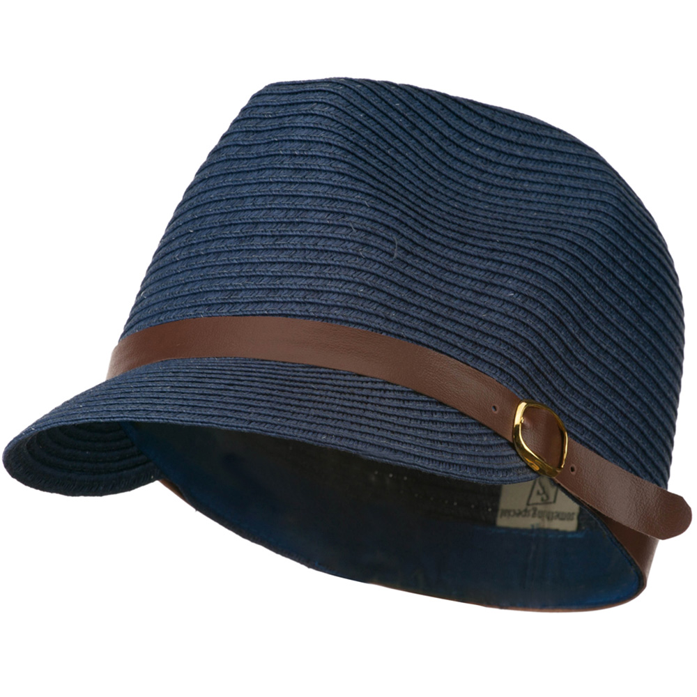PP Braid Cap with PU Buckle Band - Navy - Hats and Caps Online Shop - Hip Head Gear