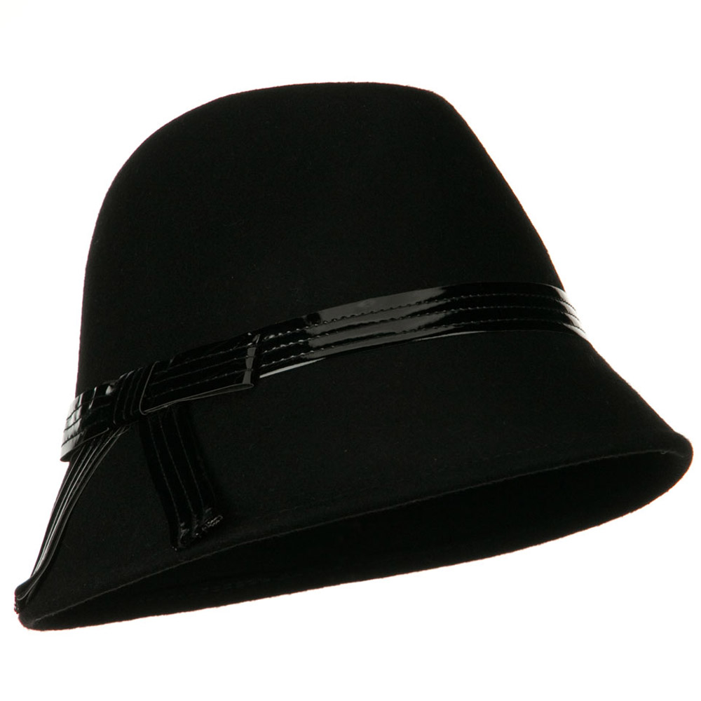 Fedora Hat with PU Ribbon Band - Black - Hats and Caps Online Shop - Hip Head Gear