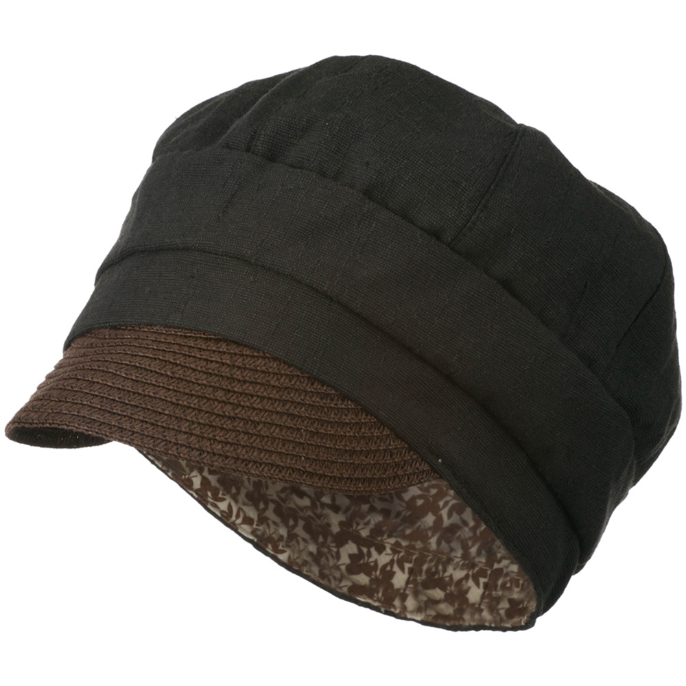 Women's Paper Straw Brim Crushable Cabbie Hat - Black - Hats and Caps Online Shop - Hip Head Gear