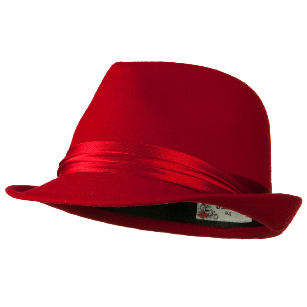 Fedora with Pleated Satin Band - Red - Hats and Caps Online Shop - Hip Head Gear