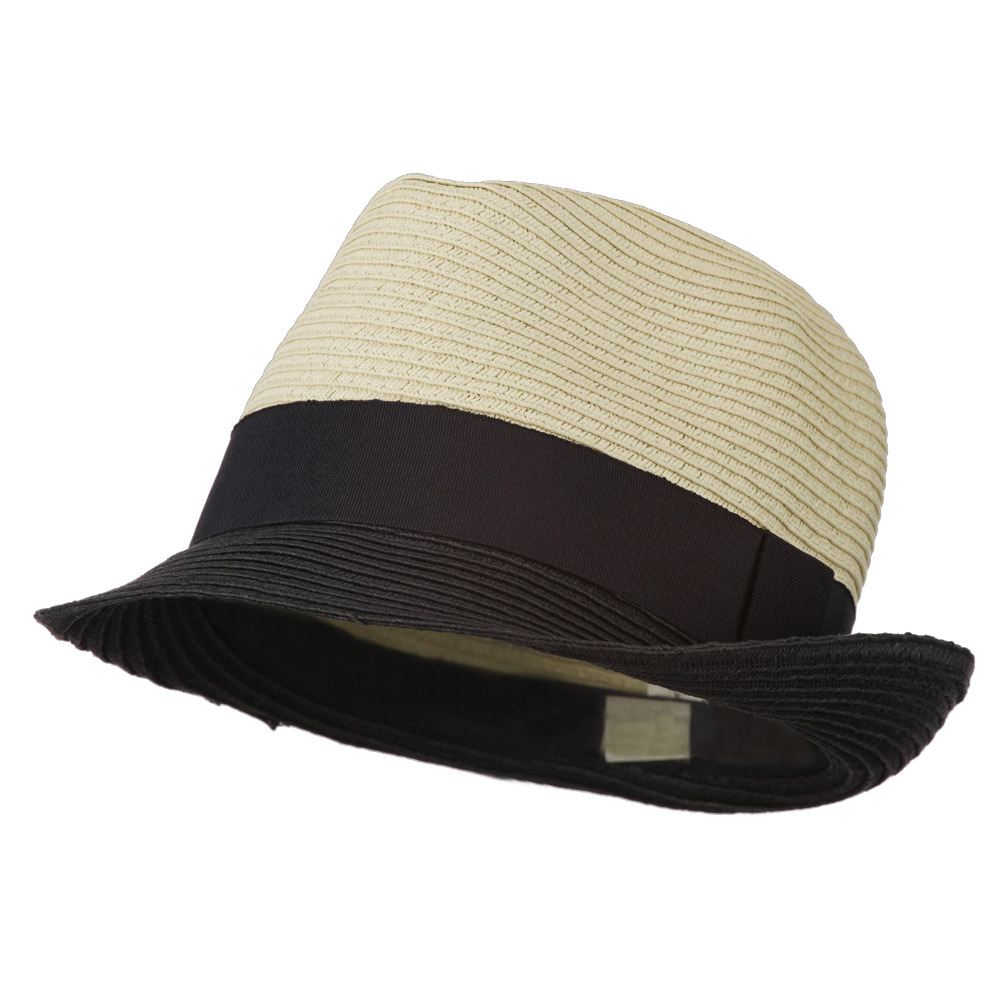 Paper Straw Braid Fedora Hat - Black Tan - Hats and Caps Online Shop - Hip Head Gear