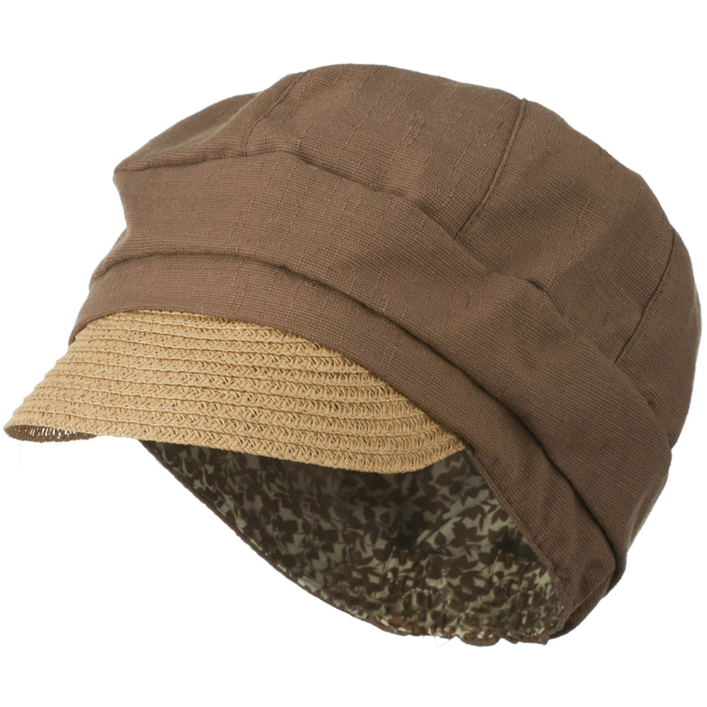Women's Paper Straw Brim Crushable Cabbie Hat - Brown - Hats and Caps Online Shop - Hip Head Gear