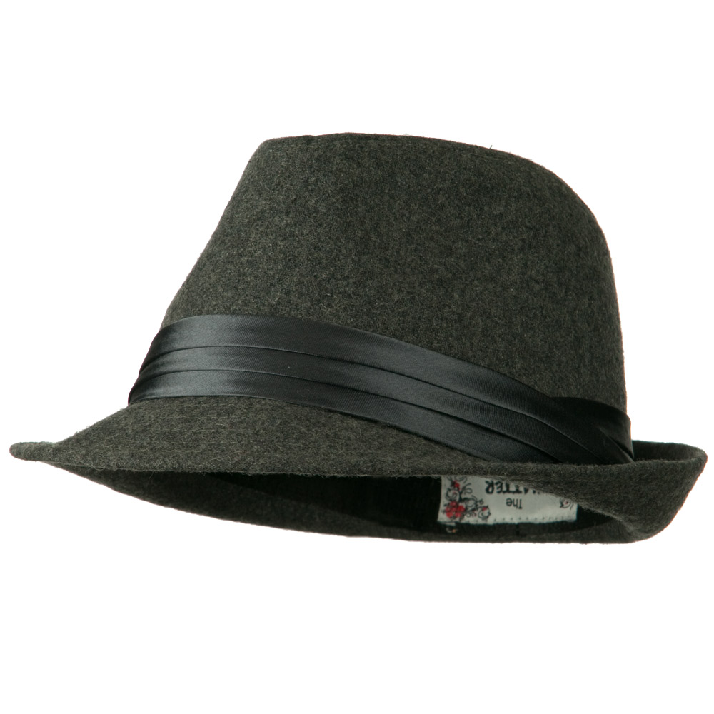 Fedora with Pleated Satin Band - Grey - Hats and Caps Online Shop - Hip Head Gear