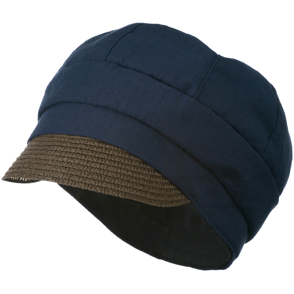 Women's Paper Straw Brim Crushable Cabbie Hat - Navy - Hats and Caps Online Shop - Hip Head Gear