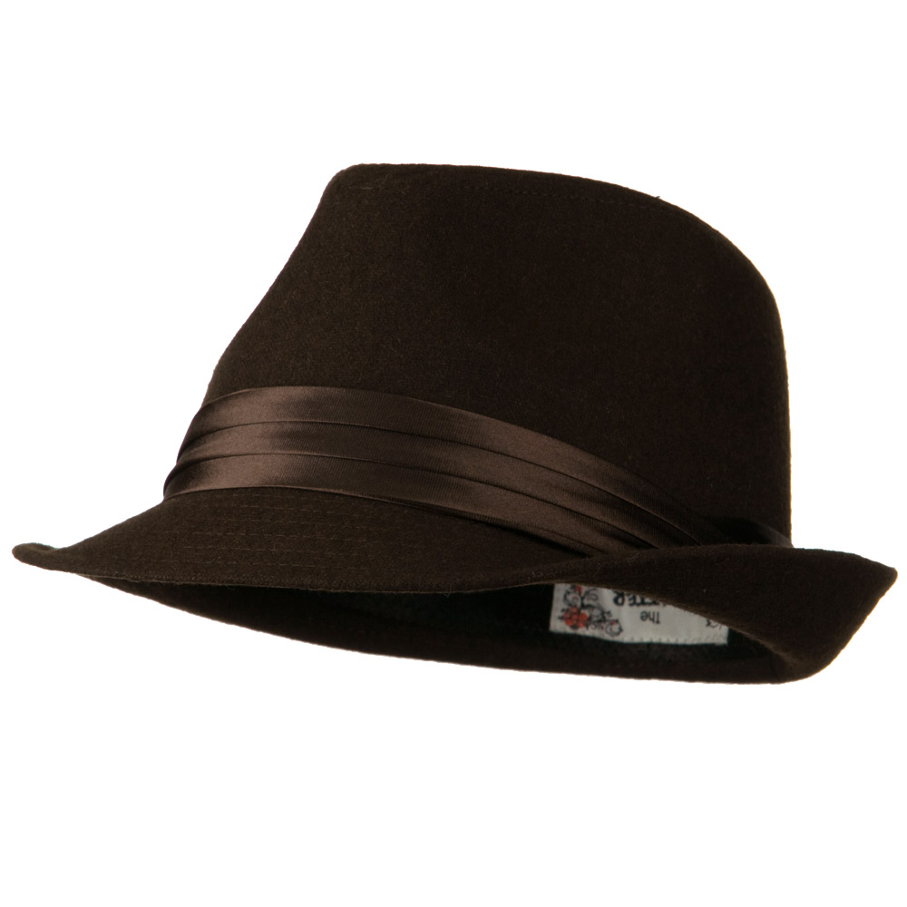 Fedora with Pleated Satin Band - Brown - Hats and Caps Online Shop - Hip Head Gear