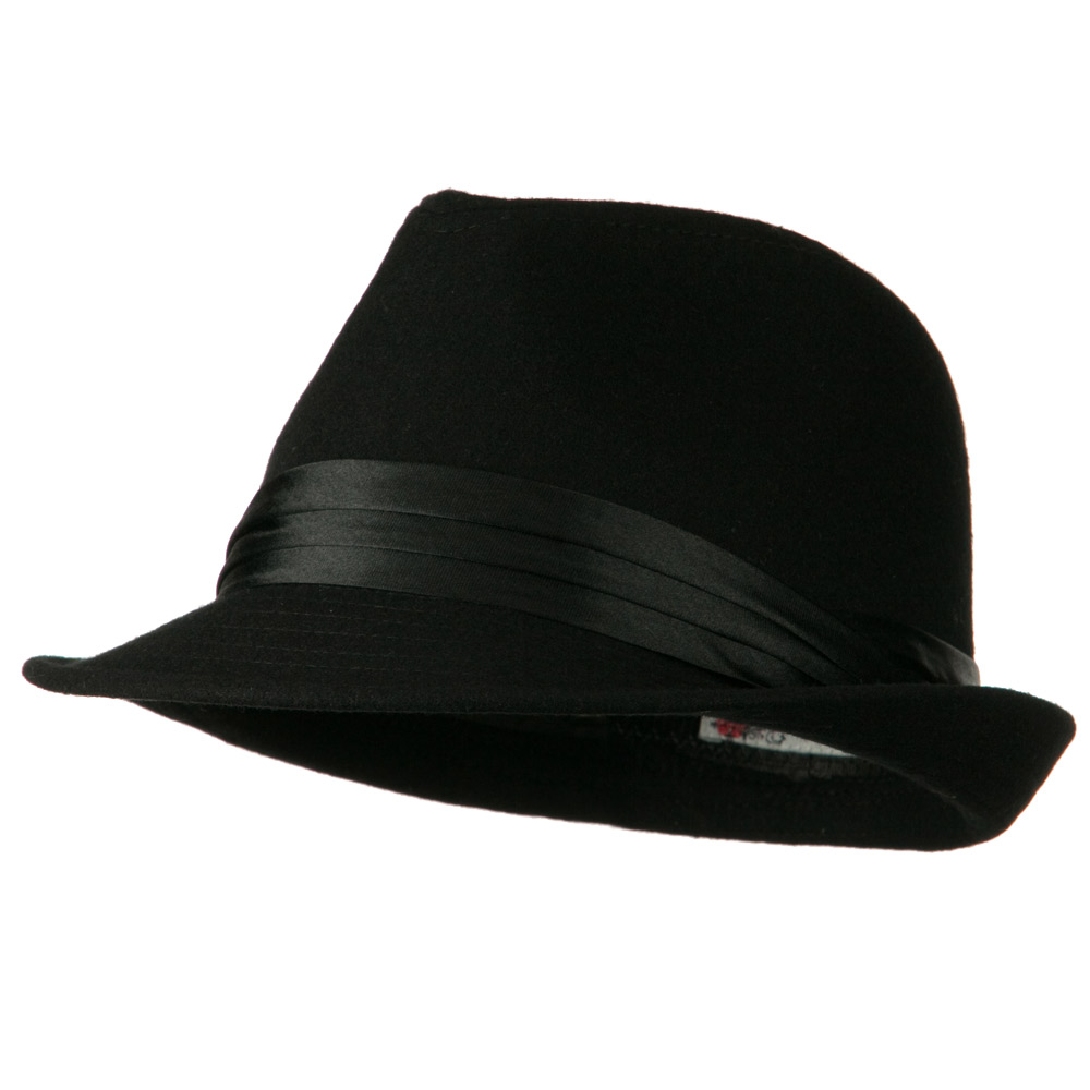 Fedora with Pleated Satin Band - Black - Hats and Caps Online Shop - Hip Head Gear