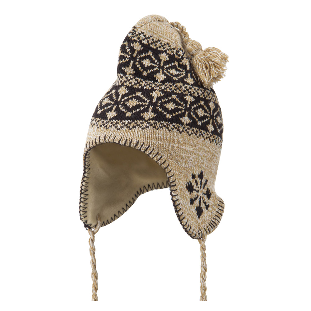 Pattern Fleece Lined Ski Beanie - Taupe - Hats and Caps Online Shop - Hip Head Gear