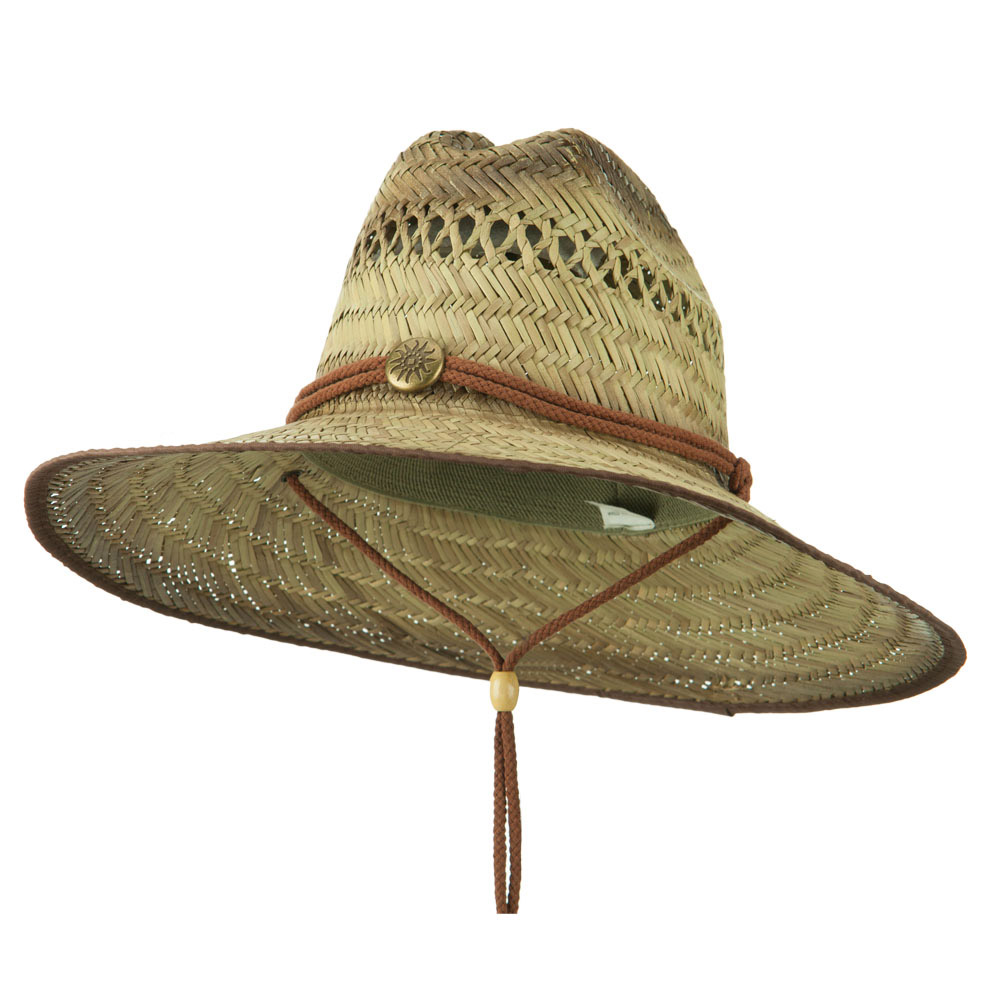 Printed Trimmed Edge Straw Hat - Brown - Hats and Caps Online Shop - Hip Head Gear