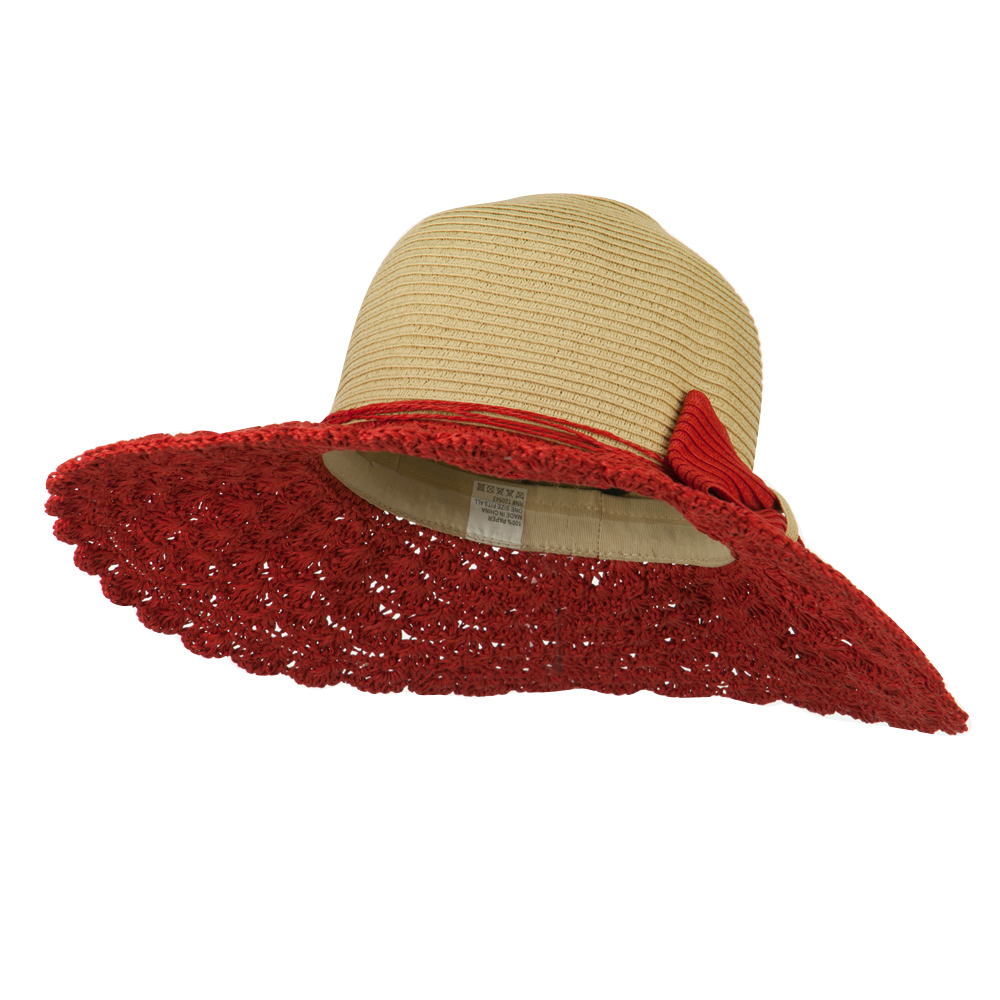 Bow Accent Paper Toyo Braid Hat - Red Tan - Hats and Caps Online Shop - Hip Head Gear